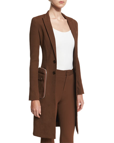 Zip-Pocket Long Twill Jacket, Chocolate