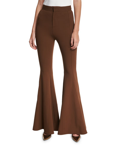 High-Waist Flare-Leg Pants, Chocolate