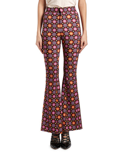 Psychedelic Floral Flared Pants, Purple/Multi
