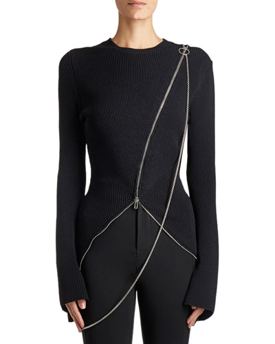 Ribbed Zip-Trim Sweater, Black