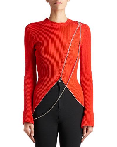 Chain Asymmetric-Zip Sweater, Red