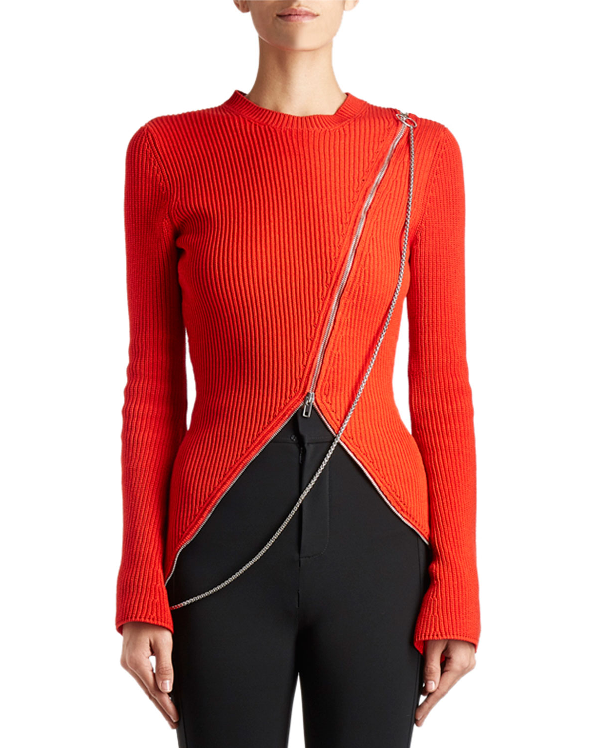 Chain Asymmetric-Zip Sweater, Red