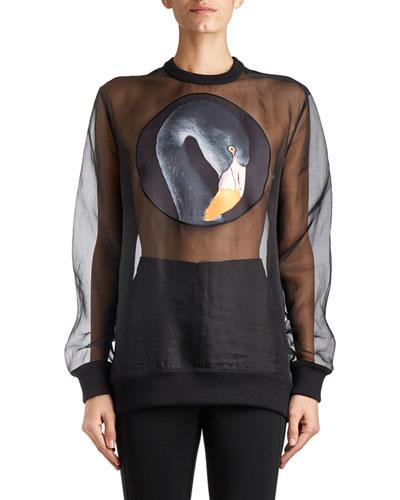 Swan-Patch Organza Sweatshirt, Black
