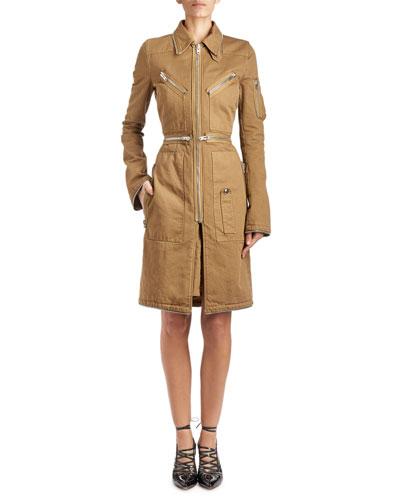 Zip-Trim Cargo Twill Coat, Khaki