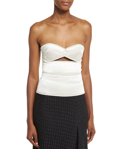 Sweetheart-Neck Bustier Top W/Cutout, Off White