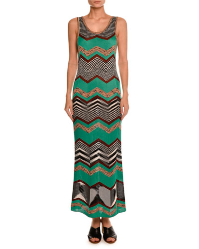 Sleeveless Zigzag Maxi Dress, Green/Multi