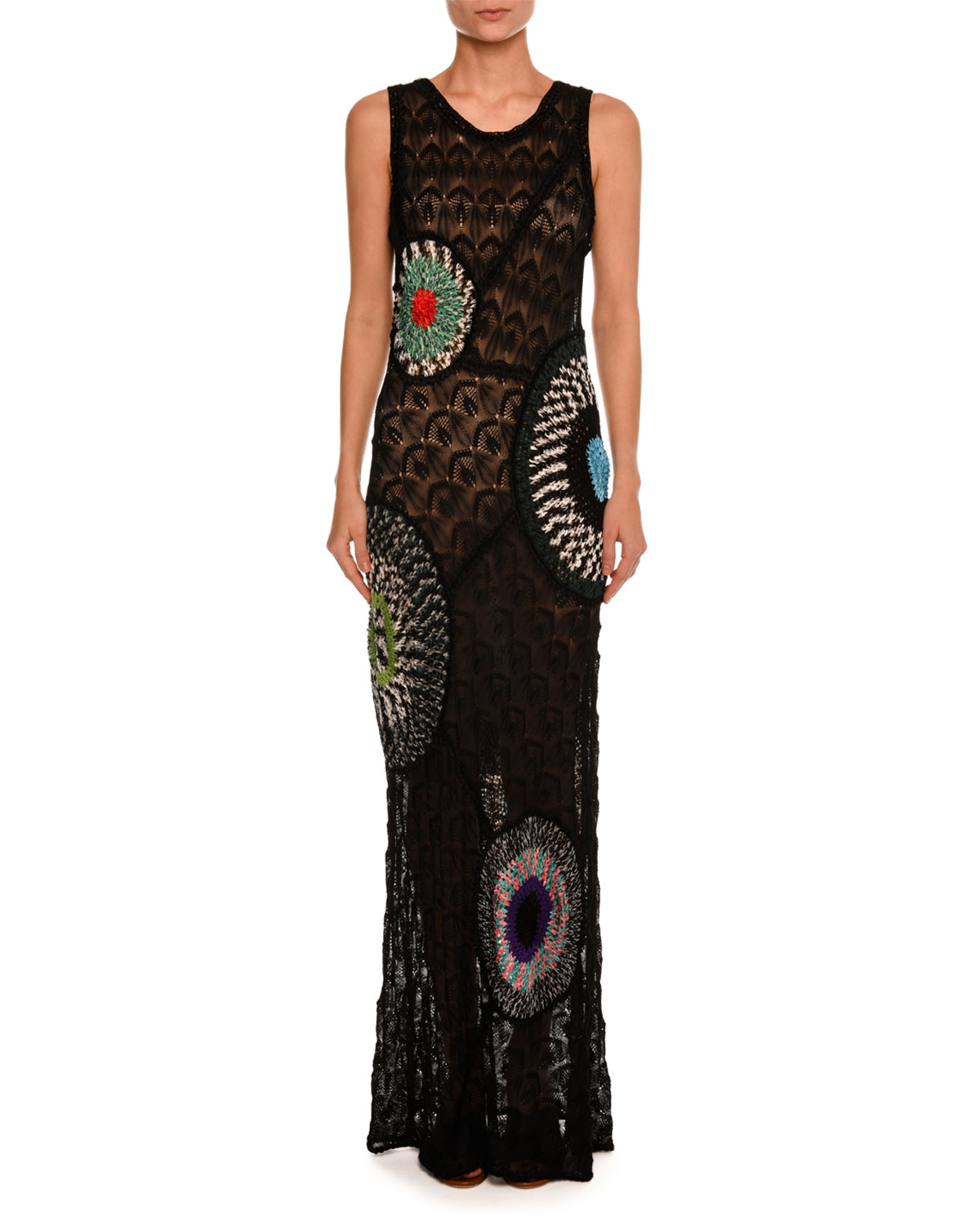 Embroidered-Inset Sleeveless Gown, Black