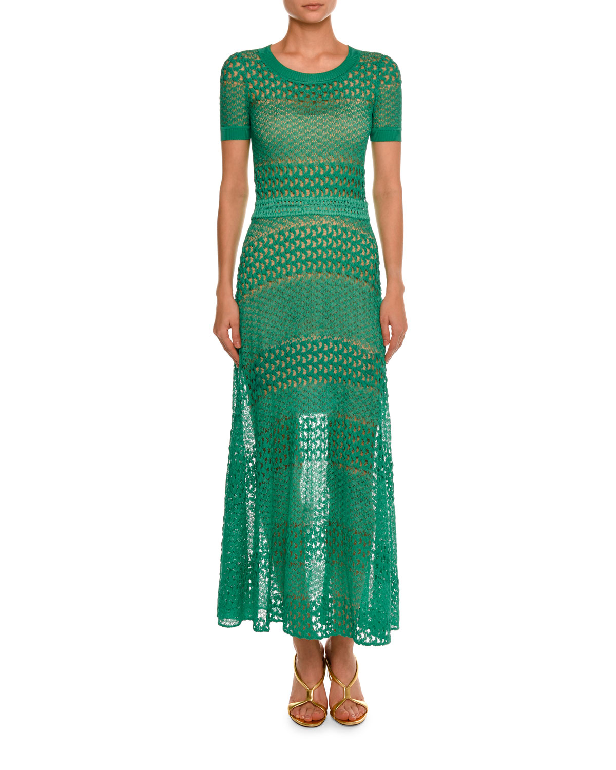 Short-Sleeve Crewneck Open-Knit Gown, Turquoise