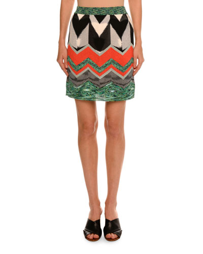 Zigzag Thin Knit Mini Skirt, Red/Multi