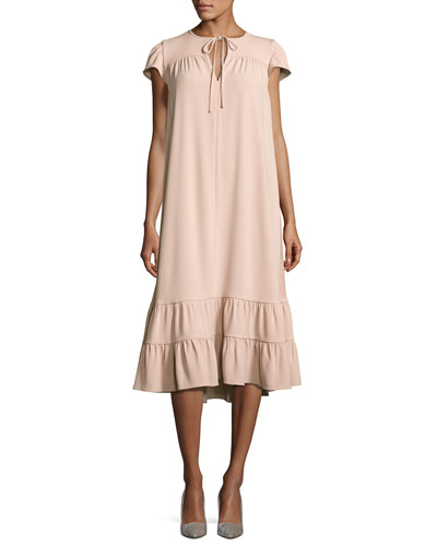 Short-Sleeve Tie-Neck Flounce-Hem Dress, Blush