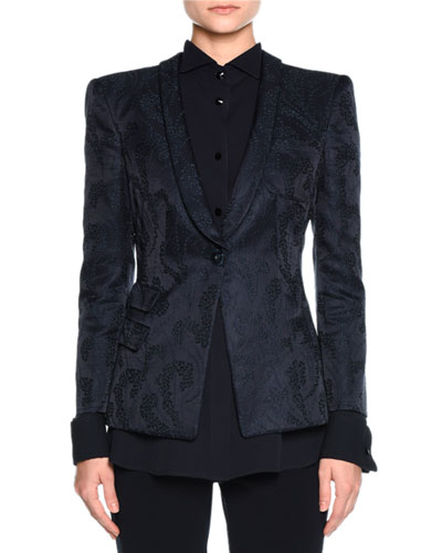 Jacquard Evening Blazer, Navy