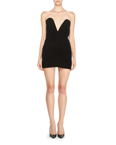 Strapless Sweetheart Velvet Mini Dress, Black