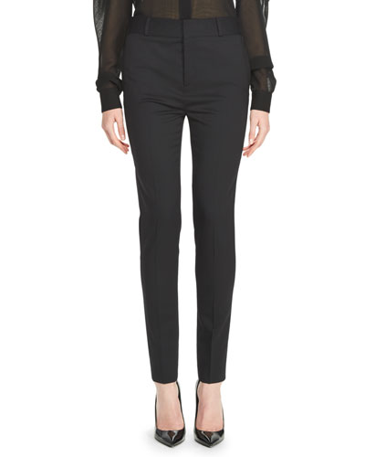 Wool-Blend Skinny Pants, Black