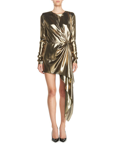 Long-Sleeve Lamé Mini Dress, Gold