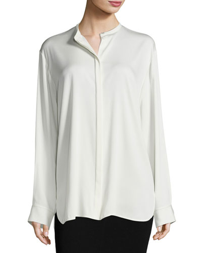 Cola Jewel-Neck Silk Shirt