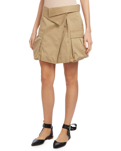 Cotton Canvas Cargo Skirt, Khaki