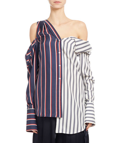 Long-Sleeve Striped Silk Two-Tone Blouse, Blue/White