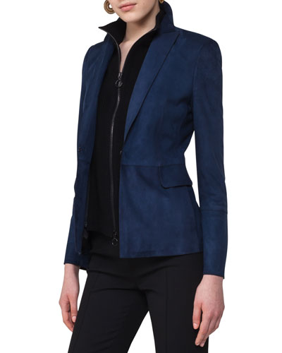 Suede Blazer with Detachable Wool Vest, Navy