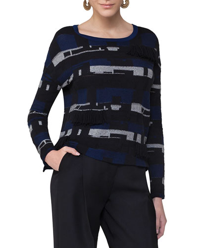 Fringed Jacquard Sweater, Blue Pattern