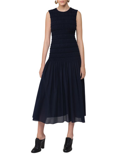 Smocked Sleeveless Midi Dress, Navy