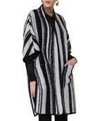 Striped Knit Cape Coat, Multi Pattern