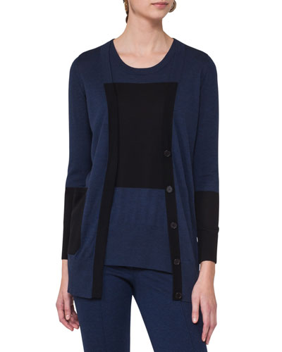 Long Colorblock Wool Cardigan, Blue Pattern