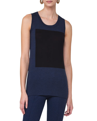 Sleeveless Colorblock Top, Blue Pattern