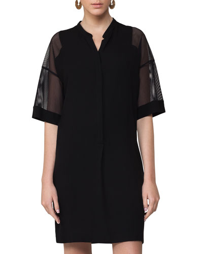 Mesh-Sleeve Tunic Dress, Black