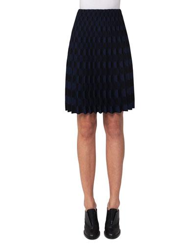Pleated Punto Knit Skirt, Multi