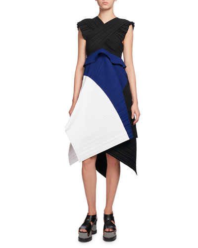 Plissé Colorblock A-Line Dress, Multi