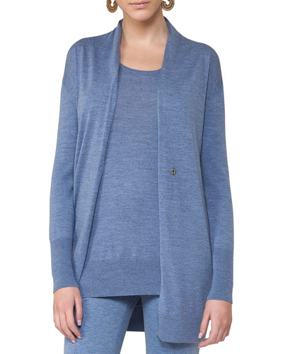 Long Wool Melange V-Neck Cardigan, Light Blue