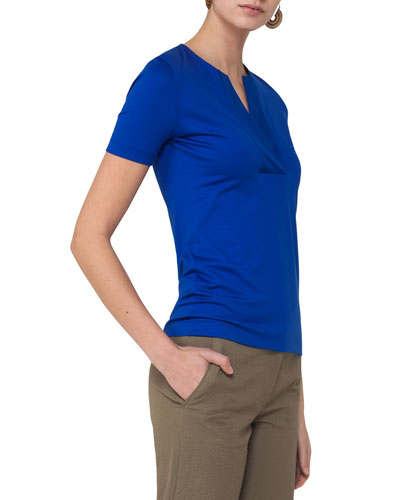 Jersey Split-Neck T-Shirt, Cobalt