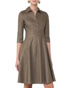 3/4-Sleeve Crossover-Waist Shirtdress, Taupe