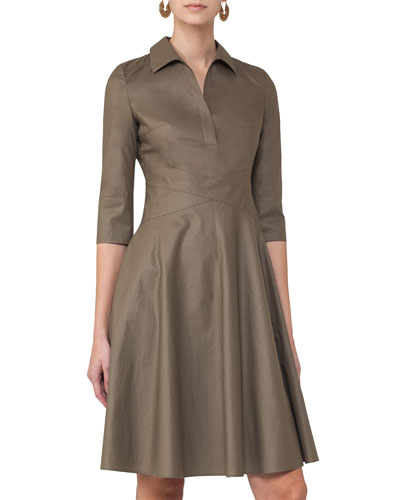 3/4-Sleeve Crossover-Waist Shirtdress, Taupe