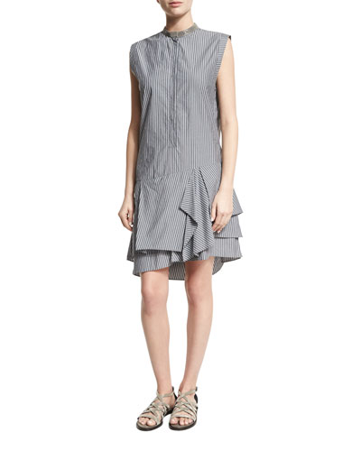 Striped Monili-Collar Ruffle-Hem Dress, Multi