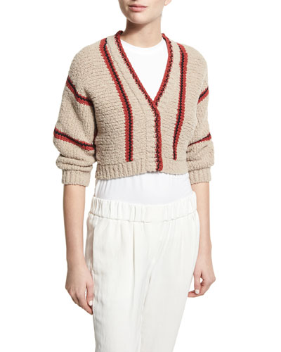 Cropped Chunky-Knit Cardigan