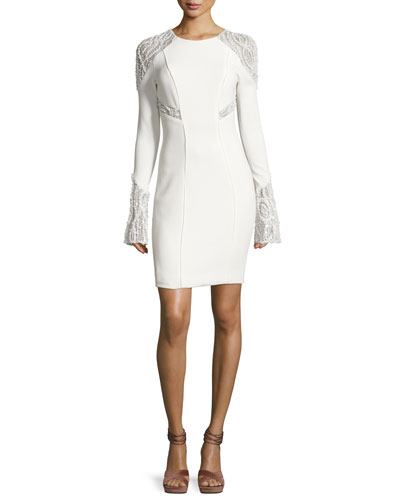 Embellished Lace-Inset Cocktail Dress, White
