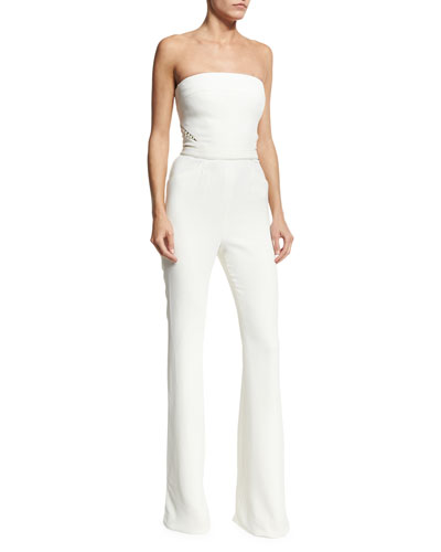 Pearly-Inset Strapless Jumpsuit, White