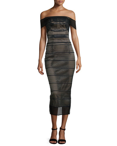 Stretch-Bandage Midi Dress, Black