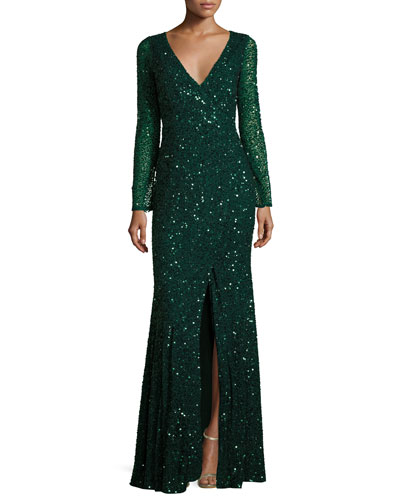 Long-Sleeve Sequined V-Neck Gown, Emerald
