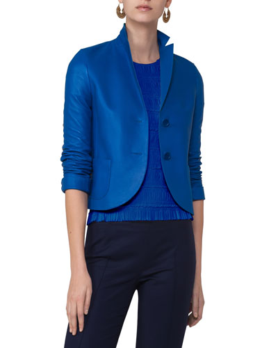 Perforated Leather Two-Button Blazer, Blue
