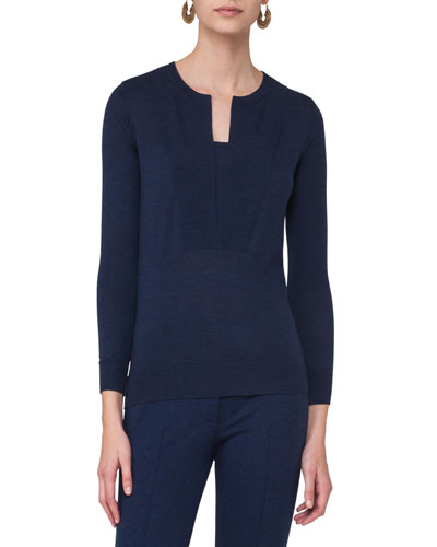 Long-Sleeve Split-Neck Sweater, Navy