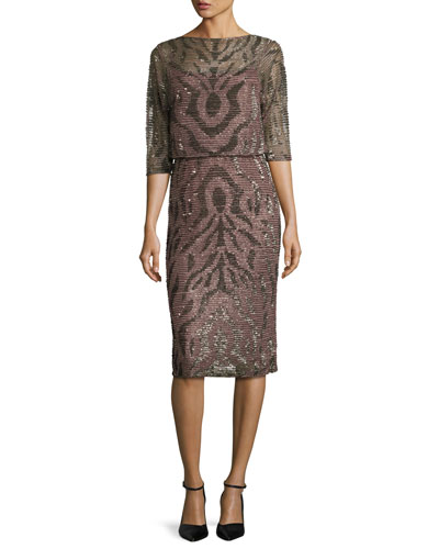 Hand-Embellished Cape Dress, Brown
