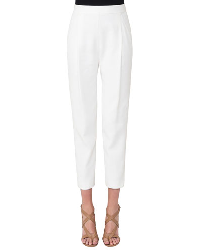Pleated Stretch-Cotton Fashion Pant, Cream