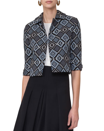 Jacquard 3/4-Sleeve Cropped Jacket, Blue Multi