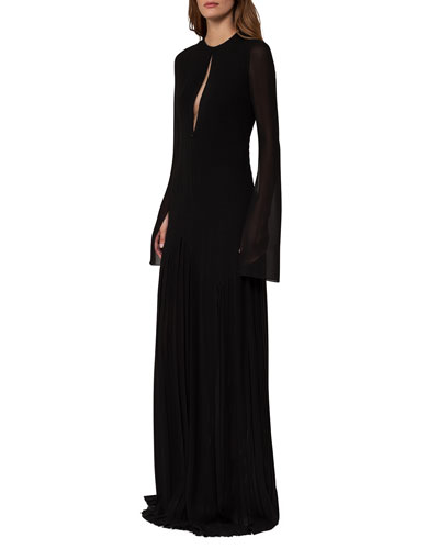 Long-Sleeve Georgette Plissé Gown, Black