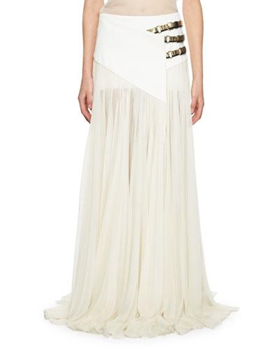 Triple-Buckle Long Wrap Skirt, Ivory