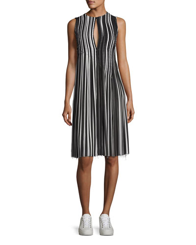 Striped Pleated-Skirt Sleeveless Dress, Black/Multi