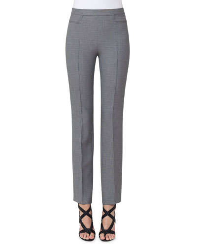 Francoise Mini-Houndstooth Straight-Leg Pants, Gray
