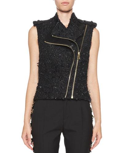 Metallic Tweed & Vinyl Biker Vest, Black
